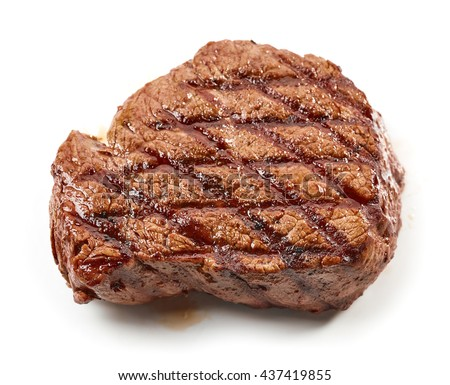 grilled beef steak isolated on white background, top view