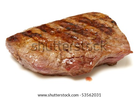 Grilled beef steak isolated over white background