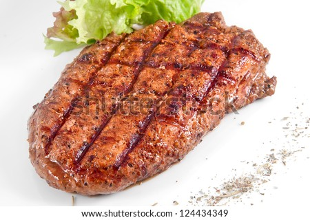 Grilled Beef Steak marinated in red wine - stock photo