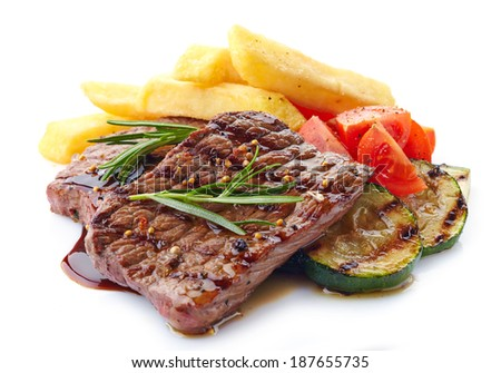 grilled beef steak on a white background - stock photo