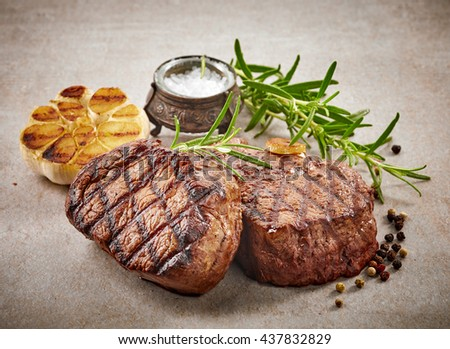 grilled beef steak with spices  - stock photo