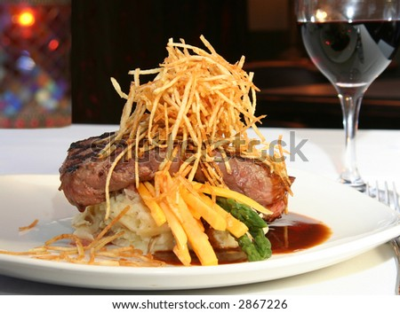 Grilled beef tenderloin entree - stock photo