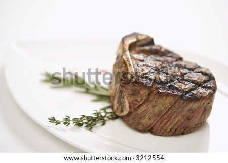 Grilled beef tenderloin on plate. - stock photo