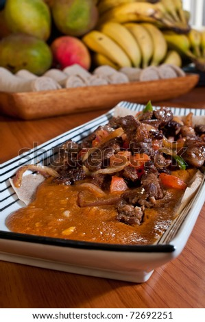 grilled beef tips and vegetables with chickpea stew - stock photo