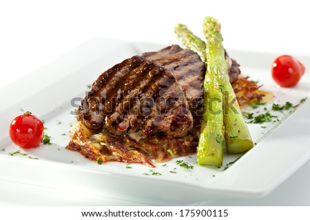 Grilled Beef with Potato and Mushrooms - stock photo