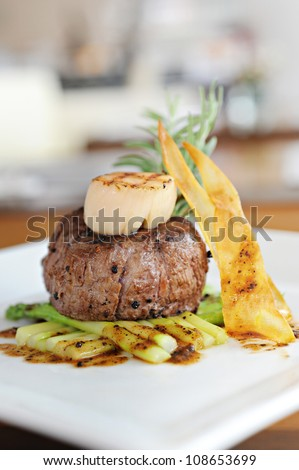 Grilled beef with scallop - stock photo