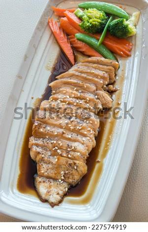 Grilled beefsteak  and  salad vegetables - stock photo