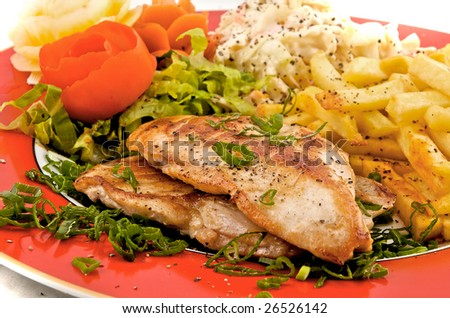 Grilled breast chicken plate - stock photo