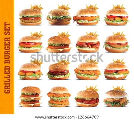 Grilled Burger set - stock photo