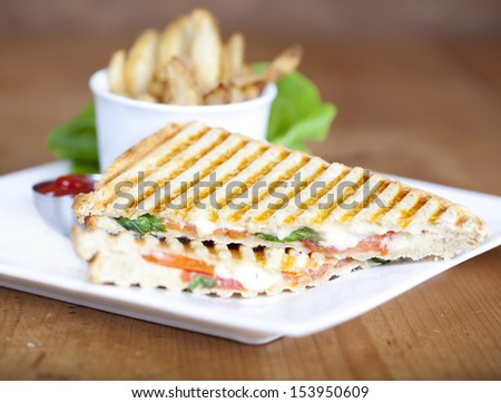 Grilled caprese sandwich with fried potatoes and ketchup on a plate  - stock photo
