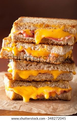 grilled cheese and bacon sandwich - stock photo