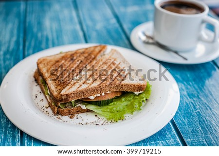 Grilled cheese sandwich on a white plate with cappuccino - stock photo