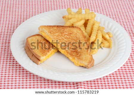 grilled cheese sandwich with french fries - stock photo