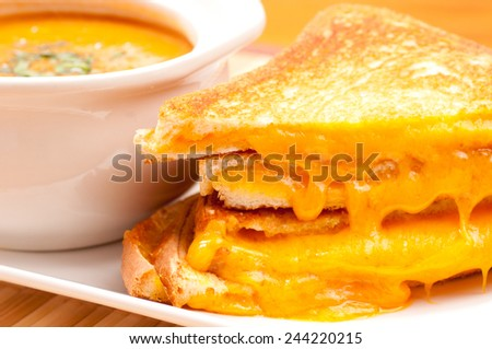 grilled cheese sandwiches and tomato chickpea soup - stock photo