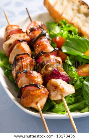 Grilled chicken and salad - stock photo
