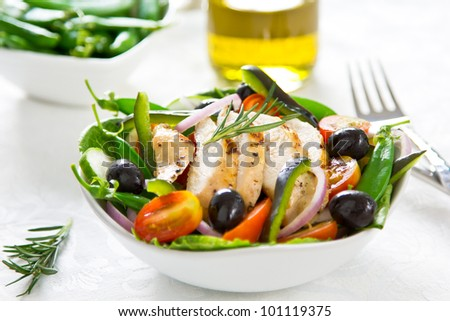 Grilled chicken and vegetable salad - stock photo