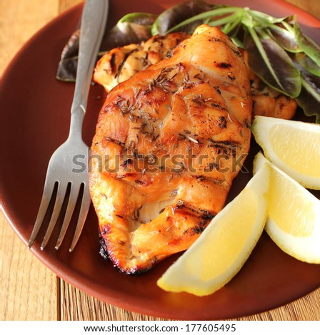 Grilled chicken breast  - stock photo