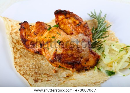 Grilled Chicken breast bbq with onion and rosemary