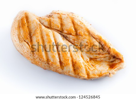 Grilled chicken breast isolated on white - stock photo