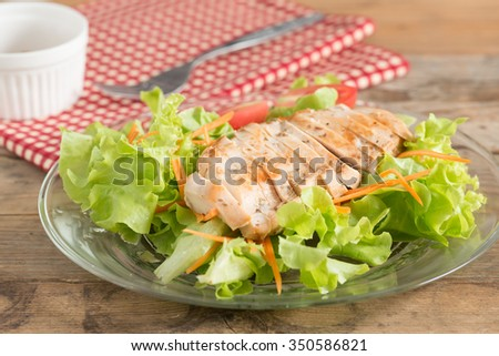 Grilled chicken breast salad. - stock photo