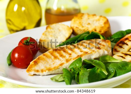 grilled chicken breast with green beans - stock photo
