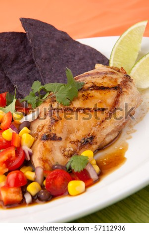 Grilled chicken breast with salsa - black beans, corn, tomatoes, chilli pepper, cilantro, red onion - with  blue corn tortilla chips. - stock photo