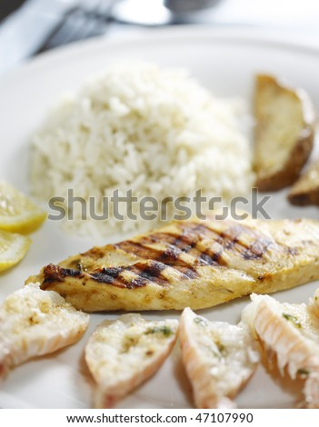 grilled chicken breast with scallop, rice and potato on the side. Very shallow depth of field.