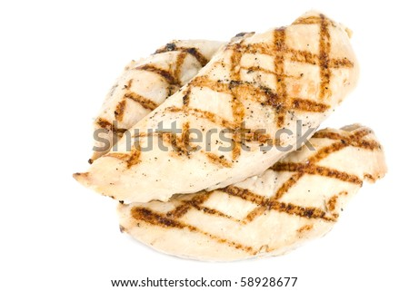 Grilled Chicken Breasts Isolated on White - stock photo