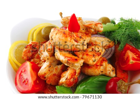 grilled chicken brisket chunks. main course. - stock photo