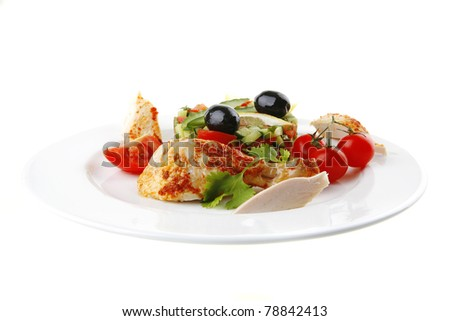 grilled chicken drumstick served on white plate - stock photo