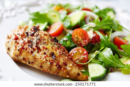 Grilled chicken fillet with colorful salad - stock photo