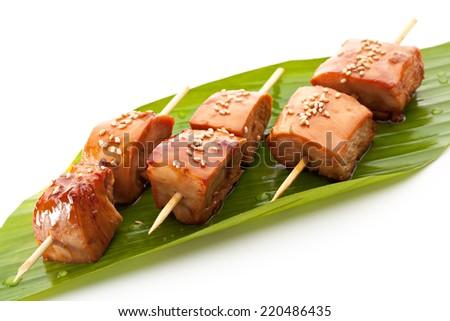 Grilled Chicken  Garnished on Green Banana Leaf - stock photo