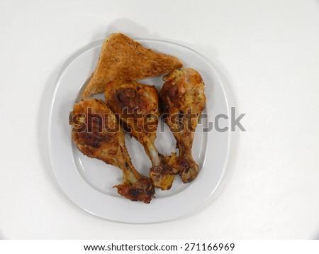 grilled chicken leg - stock photo