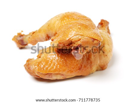 grilled chicken leg  on white background