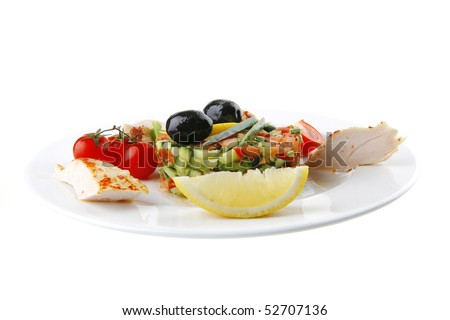 grilled chicken meat drumstick served on white plate - stock photo