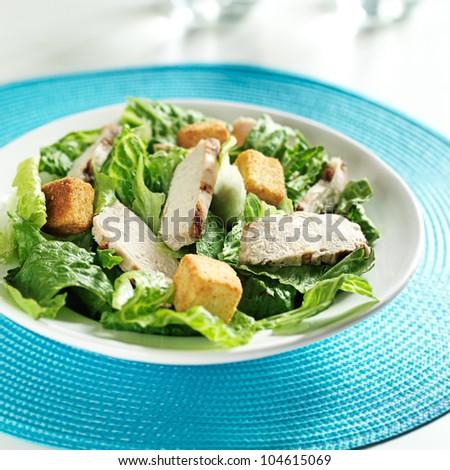grilled chicken on caesar salad - stock photo