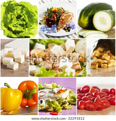 Grilled chicken salad collage - stock photo