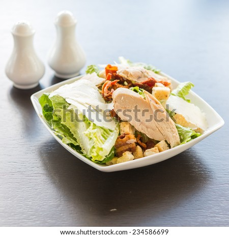 Grilled chicken salad - healthy food - stock photo