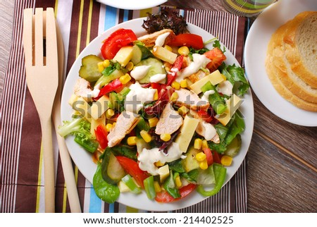 grilled chicken salad with cheese,vegetables and garlic sauce - stock photo