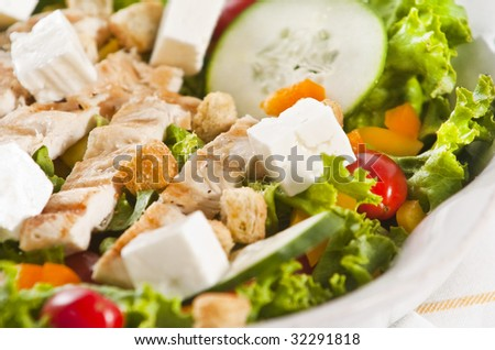 Grilled chicken salad with feta cheese