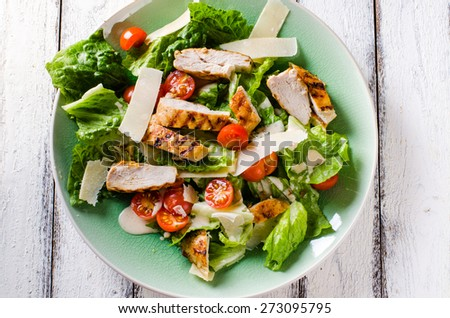 Grilled chicken salad with tomatoes and parmesan cheese - stock photo