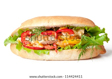 Grilled chicken sandwich with paprika and lettuce - stock photo