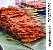Grilled chicken skewers - stock photo