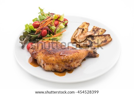 grilled chicken steak with teriyaki sauce on white background