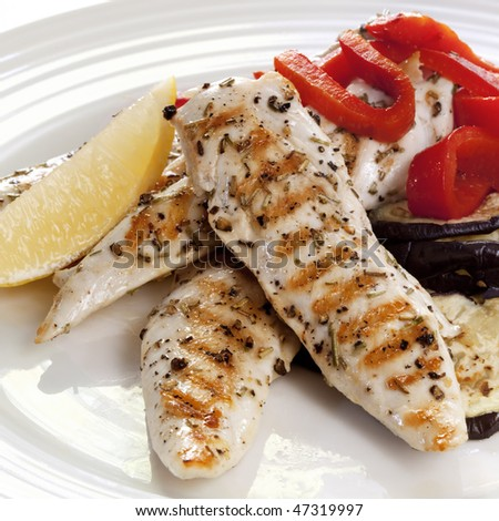 Grilled chicken tenderloin breast strips, with a salad of red capsicum and eggplant. - stock photo