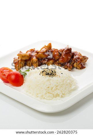 Grilled chicken Teriyaki with steamed rice gohan on white plate isolated - stock photo
