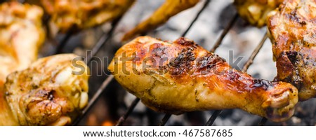 Grilled chicken thighs wings