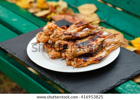 grilled chicken wings - stock photo