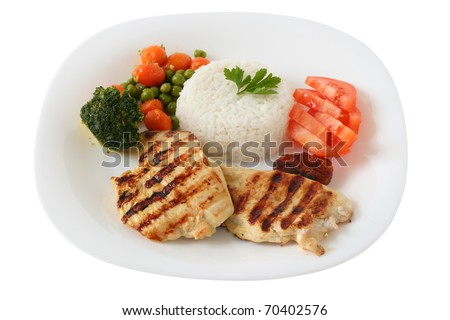 grilled chicken with boiled rice - stock photo