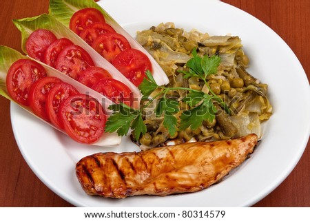 Grilled chicken with green vegetables on white plate